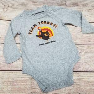 6 month Team Turkey onesie long sleeve